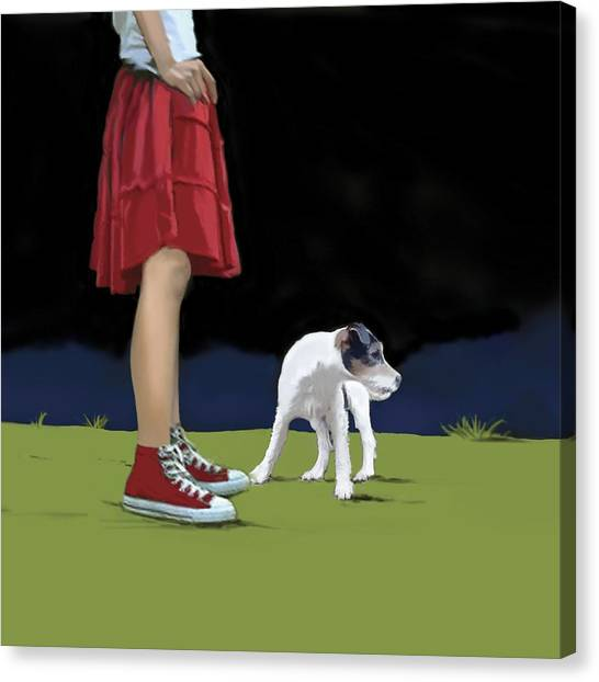 Sneakers Canvas Print - Girl In Red Skirt by Marjorie Weiss