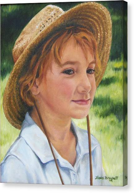 Girl In Straw Hat Canvas Print