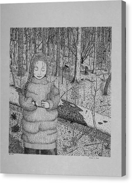 Girl In The Forest Canvas Print