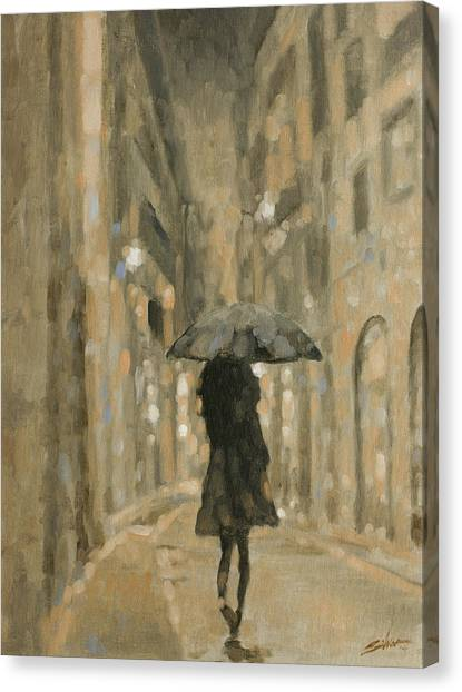 Canvas Print - Girl In The Rain by John Silver