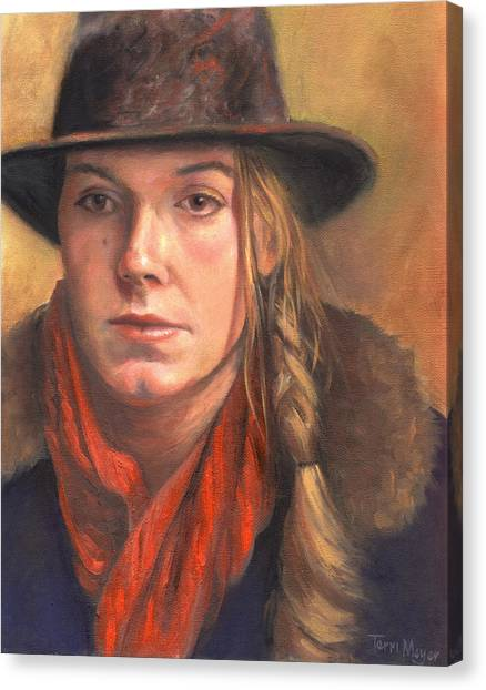 Girl In The Red Scarf Canvas Print by Terri  Meyer