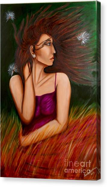 Girl In Wind Canvas Print