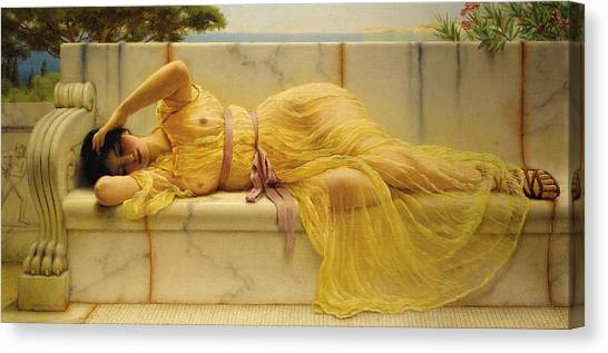 Girl In Yellow Drapery Canvas Print