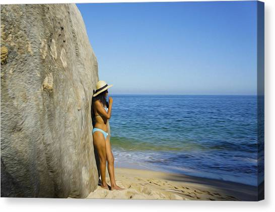 Bikini Canvas Print - Girl Looking At The Ocean by Aged Pixel
