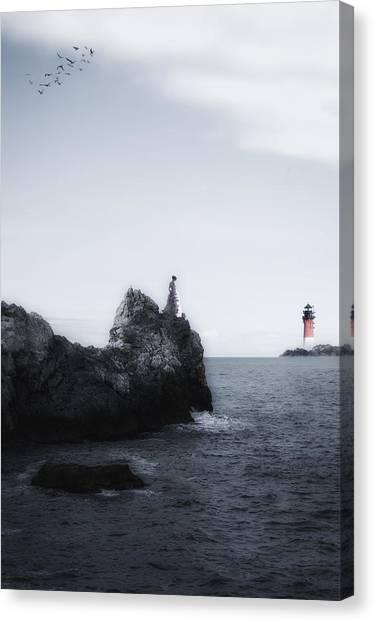 Ocean Cliffs Canvas Print - Girl On Cliffs by Joana Kruse