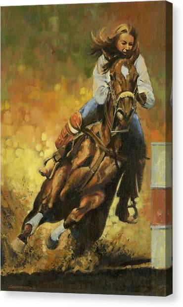 Barrel Racing Canvas Print - Girl Barrel Racing by Don  Langeneckert