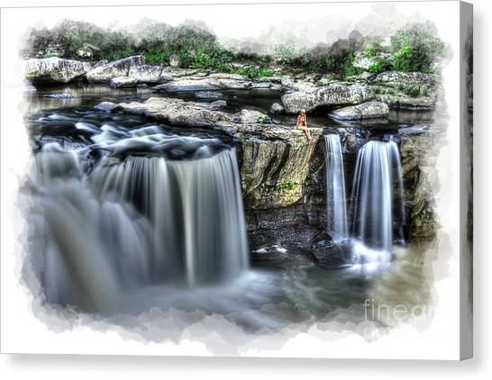 Girl On Rock At Falls Canvas Print