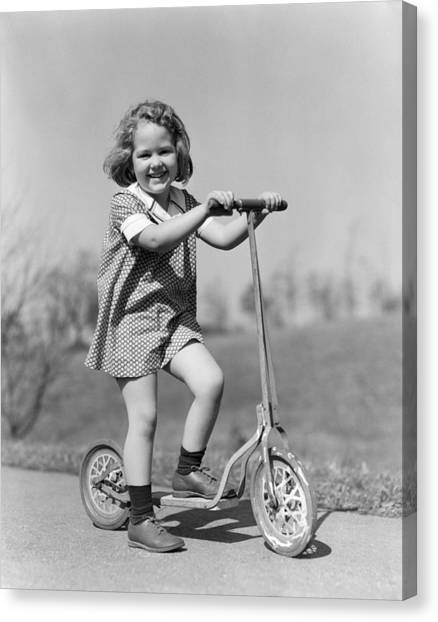 Scoot Canvas Print - Girl On Scooter, C.1930s by H. Armstrong Roberts/ClassicStock