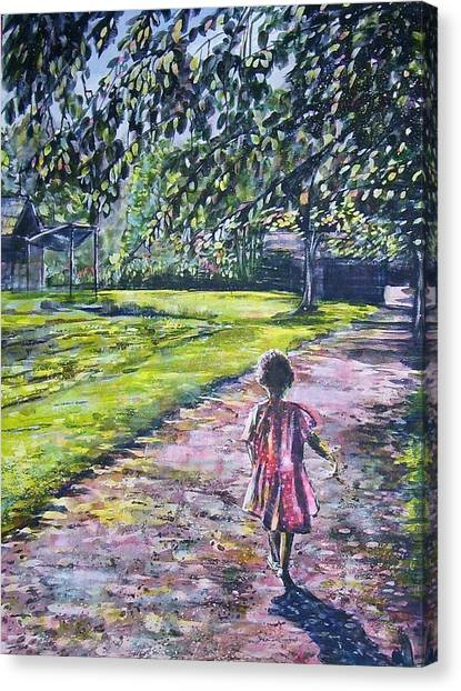 Girl On Trail Canvas Print by Linda Vaughon