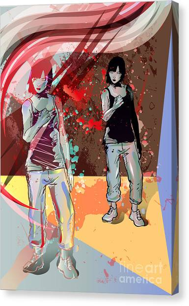 Student Canvas Print - Girl Power, Abstract Grunge Background by Irmak Akcadogan