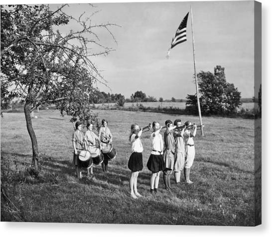 Girl Scouts Canvas Print - Girl Scout Camp Flag Ceremony by Underwood Archives
