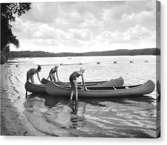 Girl Scouts Canvas Print - Girl Scout Canoe Test by Underwood Archives
