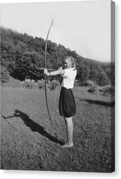 Girl Scouts Canvas Print - Girl Scout With Bow And Arrow by Underwood Archives