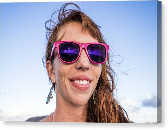 Girl Smiling With Pink Sunglasses Canvas Print by Linka A Odom