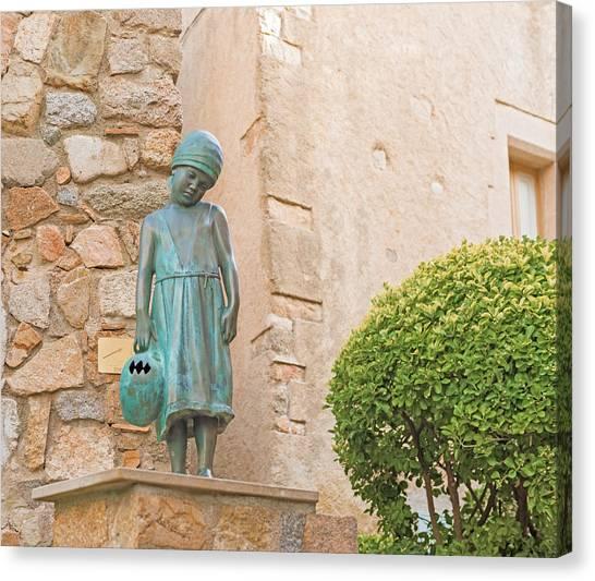 Girl Statue In Tossa De Mar Medievaltown In Catalonia Spain Canvas Print