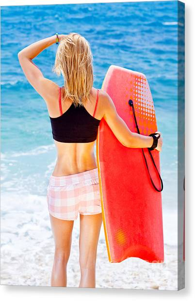 Bodyboard Canvas Print - Girl Surfer On The Beach by Anna Om