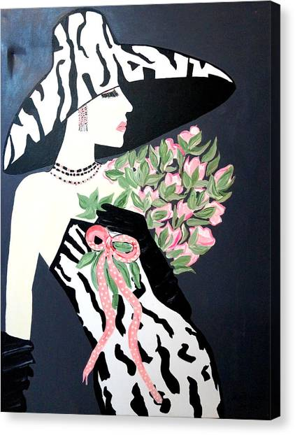 Girl That Loves Pink  Art Deco Canvas Print