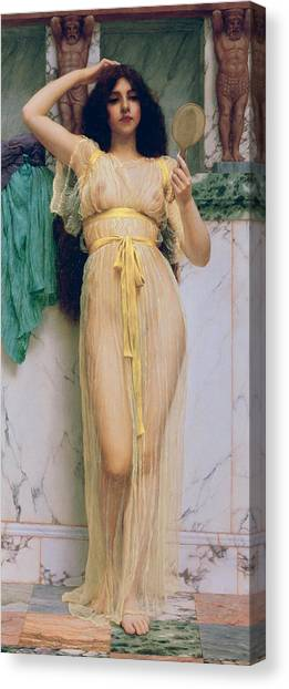 Sexuality Canvas Print - Girl With A Mirror by John William Godward