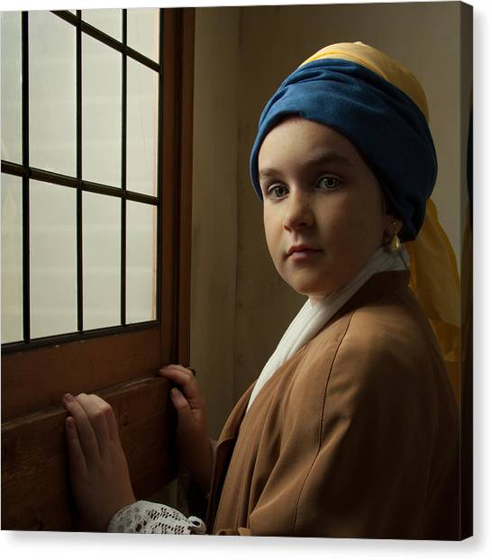 Girl With A Pearl Earring At A Window Canvas Print
