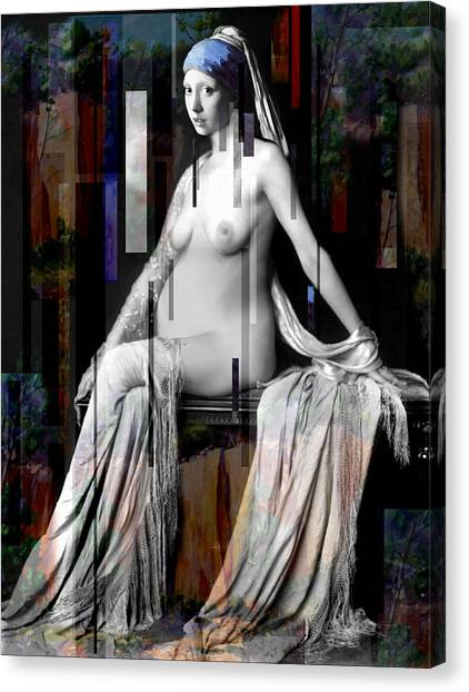 Girl With A Pearl Earing Pregnant Nude Canvas Print