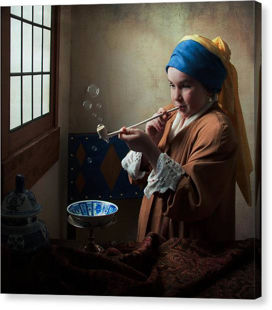 Girl With A Pearl Earring Blowing Bubbles Canvas Print