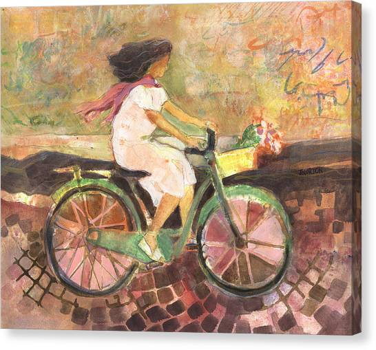 Bicycle Canvas Print - Girl With A Pink Scarf by Jen Norton