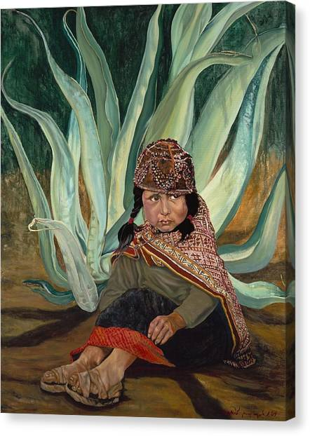 Girl With Agave Canvas Print