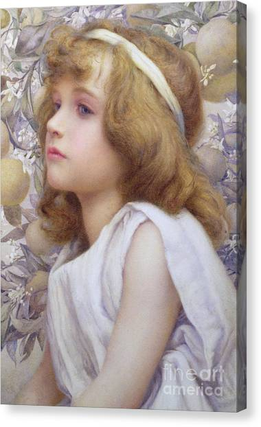 Fruit Trees Canvas Print - Girl With Apple Blossom by Henry Ryland