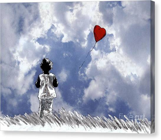 Girl With Balloon 2 Canvas Print