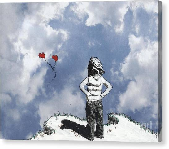 Girl With Balloons 4 Canvas Print