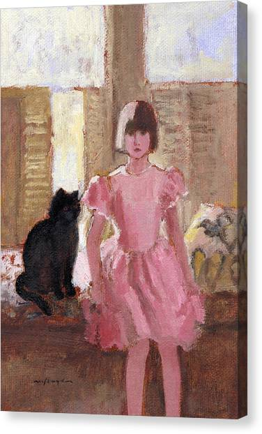 Girl With Black Cat Canvas Print