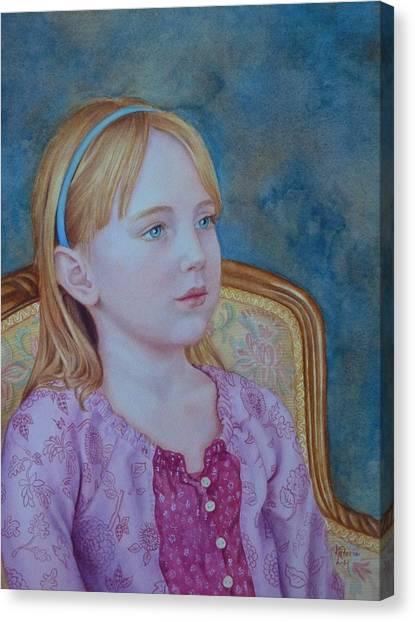 Girl With Blue Headband Canvas Print