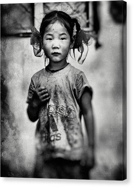 Girl With Hair Bows Canvas Print by Txules