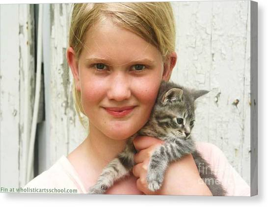 Girl With Kitten Canvas Print