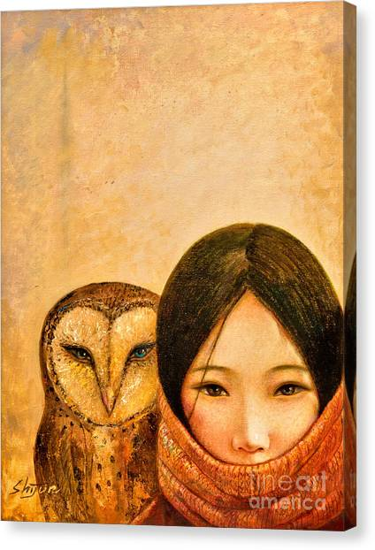 Owls Canvas Print - Girl With Owl by Shijun Munns