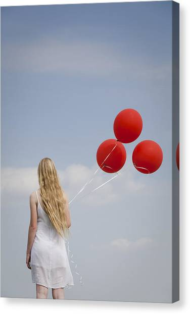 Girl With Red Balloons Canvas Print