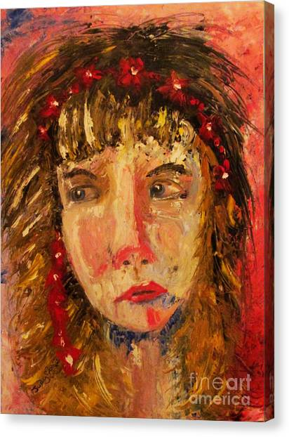Girl With Red Flowers In Her Hair Canvas Print