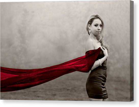 Girl With Red Scarf Canvas Print