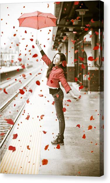 Girl With Red Umbrella Canvas Print