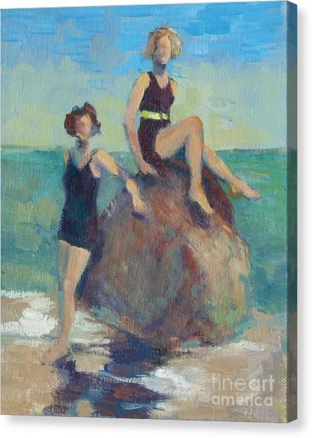 California Canvas Print - Girlfriends At The Beach by Karla Bartholomew