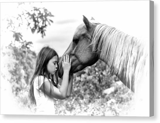 Girls And Their Horses Canvas Print