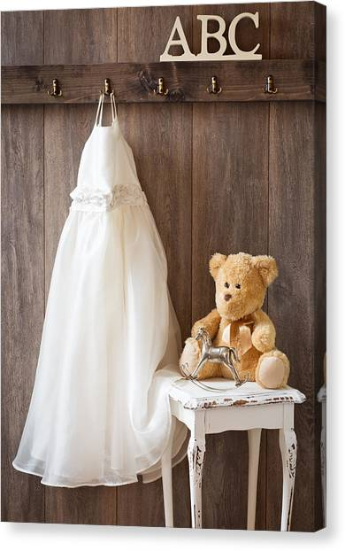 Teddybear Canvas Print - Girls Dress by Amanda Elwell