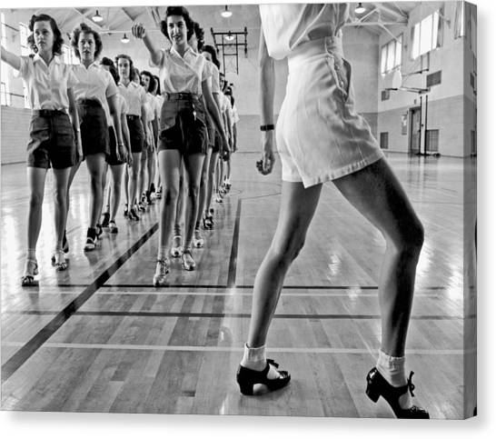 Tap Dance Canvas Print - Girls In A Tap Dancing Class by Underwood Archives