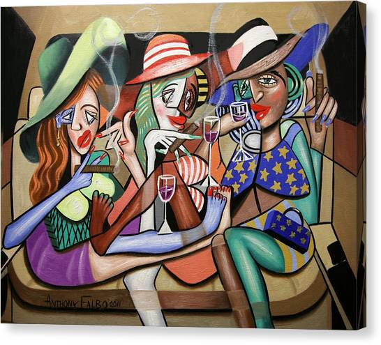 Canvas Print featuring the painting Girls Night Out by Anthony Falbo