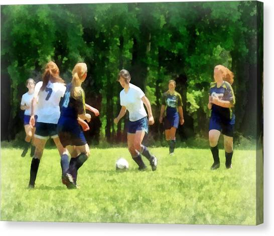 Girls Playing Soccer Canvas Print