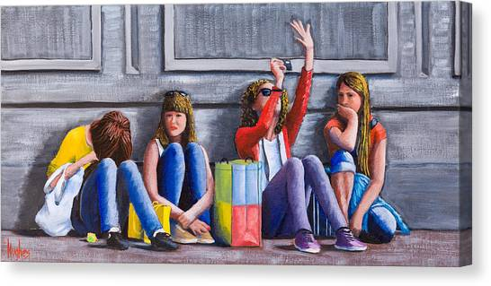 Girls Waiting For Ride Canvas Print