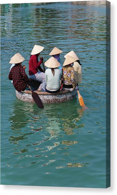 Floating Girl Canvas Print - Girls With Conical Hats In Bamboo by Keren Su