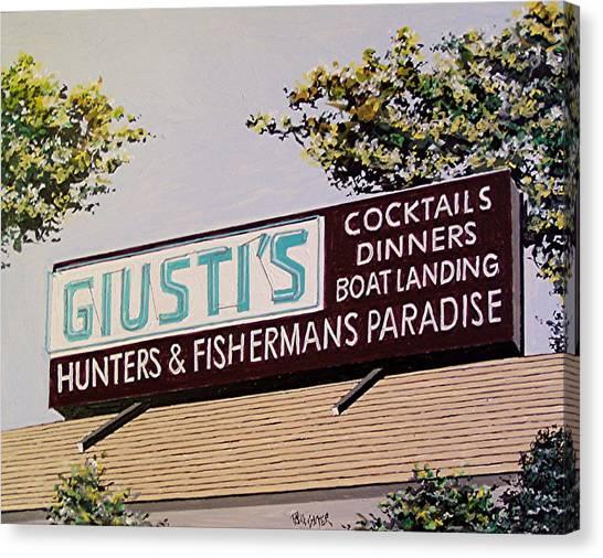 Giusti's In The Sacramento San Joaquin Delta Canvas Print by Paul Guyer