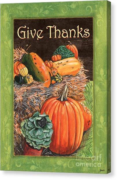 Pumpkins Canvas Print - Give Thanks by Debbie DeWitt