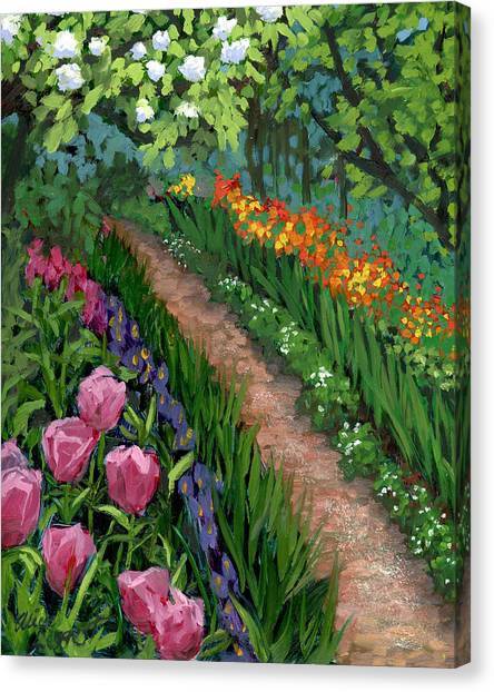 Spring Trees Canvas Print - Giverny Garden by Alice Leggett